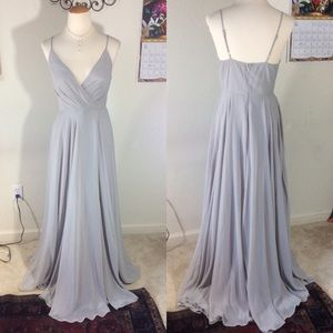 Anthropologie BHLDN Grey Maxi Formal Gown